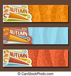 Vector set horizontal banners for Autumn