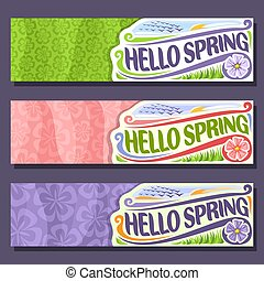 Vector set horizontal banners for Spring