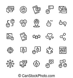 Vector set icon of social networks in thin line style.