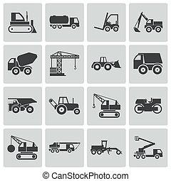 vector, set, iconen, bouwsector, black , vervoeren