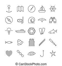 vector, set, iconen, illustration., nautisch