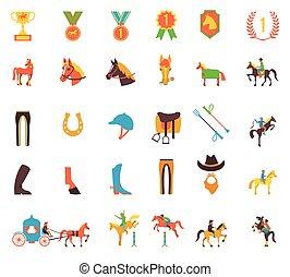 vector, set, iconen, paarde