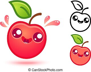 Cute red apple with juicy drops