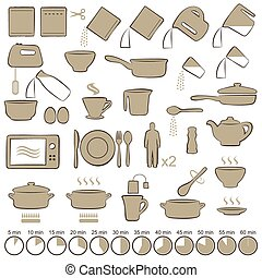 cooking manual instructions, - vector set icons cooking...
