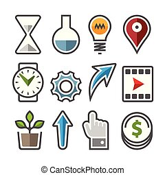 vector, set, icons.