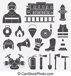 Vector set icons of firefighting equipment vector illustration