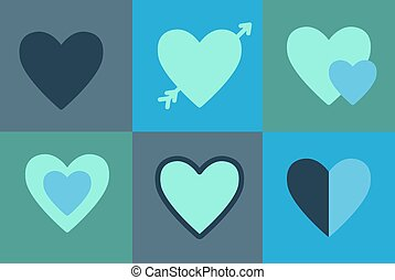 Vector  set icons of hearts,  symbol love.