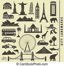 set icons of the city landmark world