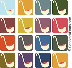 vector set icons serving spoon square background in different colors