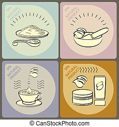 Vector set icons spa themed.