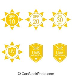 Vector set icons SPF. Protection from the sun UV, UVB, UVA...