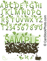 vector, set, illustratie, een, brief, in, de, vorm, van, groene, spruiten, op, de aarde