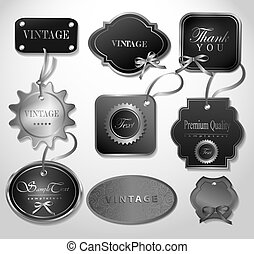 vector, set, illustration., labels., retro