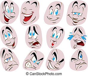 vector set illustration of a face