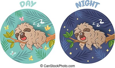 Sloth sleeps day and night - Vector set illustration of a...