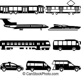 Vector set illustration of black public transport