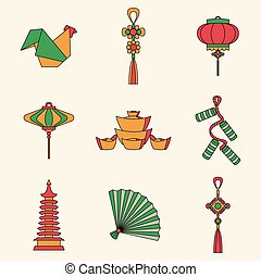 Vector set illustration of Chinese Symbols and objects