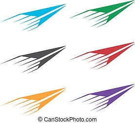 vector set illustration of colorful paper planes