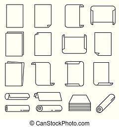 vector, set, illustration., papier, dune lijn, style., pictogram
