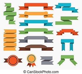 vector, set, illustration., ribbons., retro