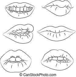 Set contour of the lips with different emotions