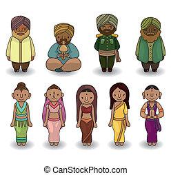 vector, set, indiër, pictogram, spotprent