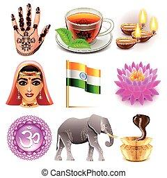 vector, set, india, iconen