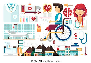 Vector set isolated design element medicine health care of patient medical insurance treatment illness recovery doctor nurse ambulance hospital pharmacy polyclinic flat style on white background