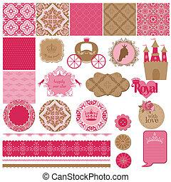 vector, set, -, jarig, ontwerp, plakboek, meisje, prinsesje,...