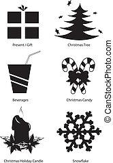 vector, set, kerstmis, clipart