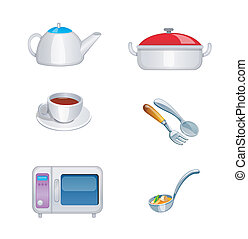 vector, set, keuken, pictogram