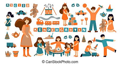 Vector set kindergarten, children play and nanny. Illustration designer for kindergarten, toy store, baby-sitter, school. Collection of people and objects isolated on white background. Girls play with tea dolls, boys in cars, planes, rockets.