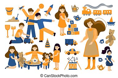 Vector set kindergarten, children play and nanny. Illustration designer for kindergarten, toy store, baby-sitter, school. Collection of people and objects isolated on white background.