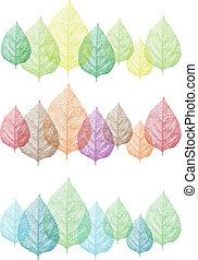 vector, set, kleurrijke, bladeren