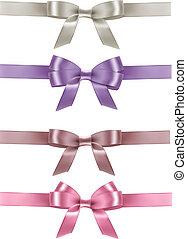 vector, set, kleurrijke, cadeau, buigingen, ribbons., illustration.
