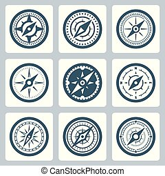 vector, set, kompassen, pictogram
