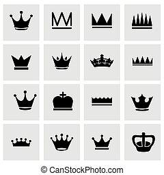vector, set, kroon, pictogram
