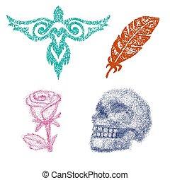 vector, set, kunst, firebird, dotted, punt, roos, werken, vrijstaand, illustratie, of, dotwork, grafisch, schedel, achtergrond, toon, veer, witte punt