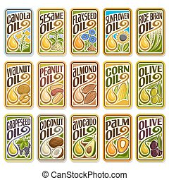 Vector set labels Cooking Oil