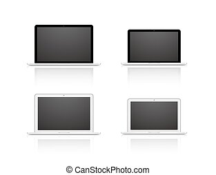Vector set laptop isolated on white background