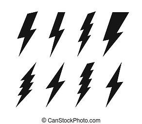 Vector set lightning bolt.