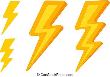 Vector set lightning icons.