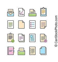 Vector,  Set, lineair, iconen, Vrijstaand, SYMBOLEN, Papier, witte,  Document