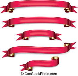 vector, set, linten, rood