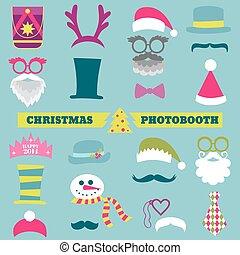 vector, set, -, lippen, bril, maskers, kerst hoeden, kraam, mustaches, foto, feestje, ontwerp, retro
