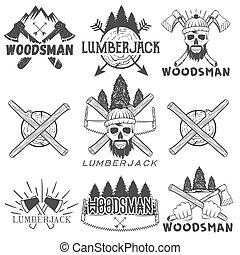 Vector set lumberjack logos, emblems, banners, labels or...