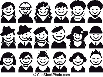 vector, set, mensen, pictogram