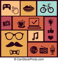 vector, set, met, modieus, hipster, iconen