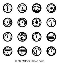 vector, set, meter, pictogram