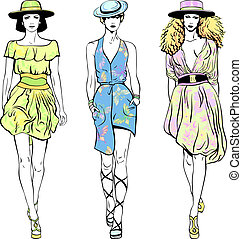 vector, set, mode, bovenzijde, modellen, in, de kleding van de zomer, en, hoedjes